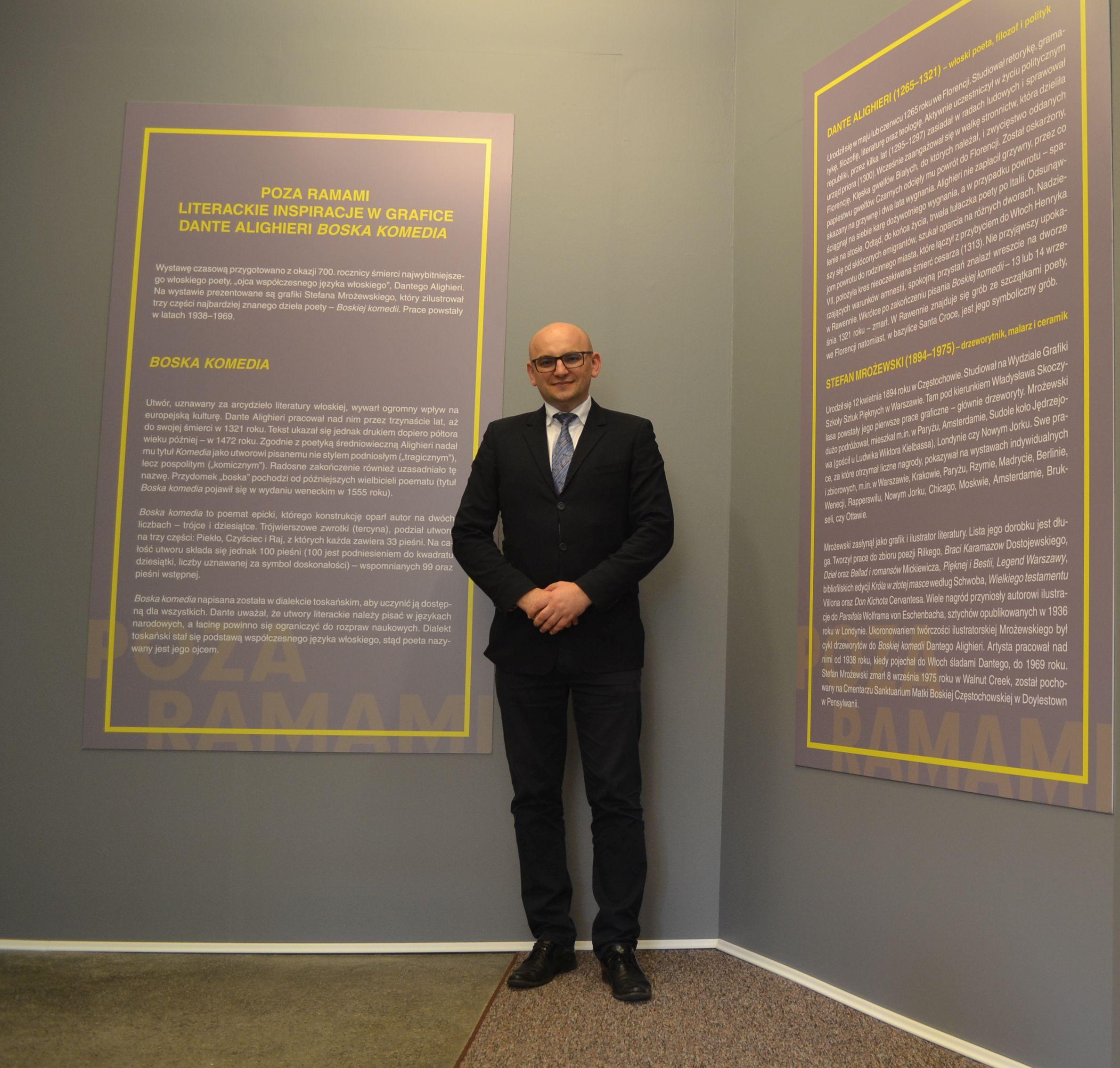"""Przedstawiciele PBW podczas otwarcia wystawy """"POZA RAMAMI Literackie inspiracje w grafice"""" Dante Alighieri Boska komedia"""
